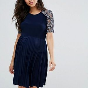 Asos Navy Pleat and Lace Dress